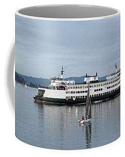 Coffee Mug featuring the photograph Ferry Issaquah And Sailboats by E Faithe Lester
