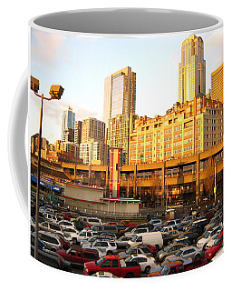 Ferry Lines At Sunset Coffee Mug by David Trotter
