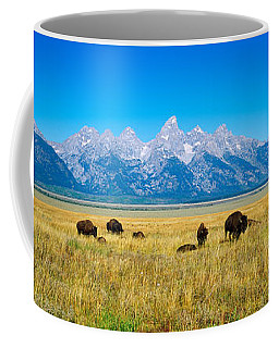 Field Of Bison With Mountains Coffee Mug