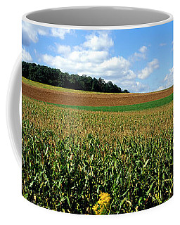 Field Of Corn With Tractor In Distance Coffee Mug