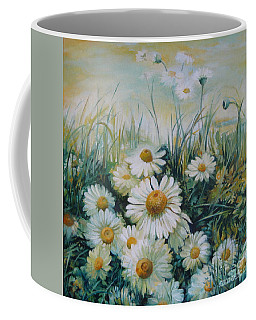 Coffee Mug featuring the painting Field Of Flowers by Elena Oleniuc