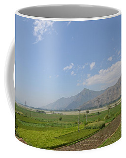 Coffee Mug featuring the photograph Fields Mountains Sky And A River Swat Valley Pakistan by Imran Ahmed