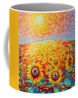 Fields Of Gold - Abstract Landscape With Sunflowers In Sunrise Coffee Mug