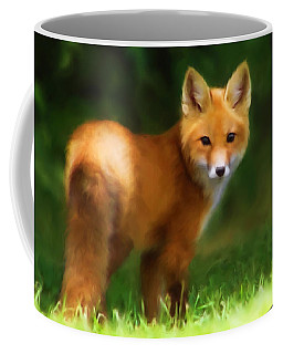 Coffee Mug featuring the mixed media Fiery Fox by Christina Rollo