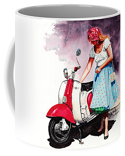 Fifties Lambretta Girl Coffee Mug