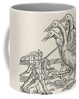 Fight Between Pygmies And Cranes. A Story From Greek Mythology Coffee Mug