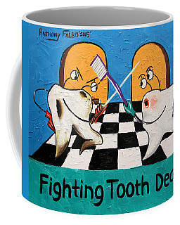 Coffee Mug featuring the painting Fighting Tooth Decay by Anthony Falbo