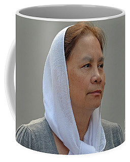 Coffee Mug featuring the photograph Filipina Woman Wearing A Scarf by Jim Fitzpatrick