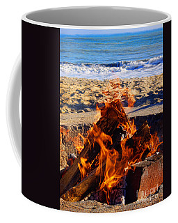 Coffee Mug featuring the photograph Fire At The Beach by Mariola Bitner