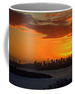 Coffee Mug featuring the photograph Fire In The Sky by Miroslava Jurcik