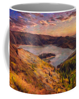 Fire Lake At Sunset Coffee Mug