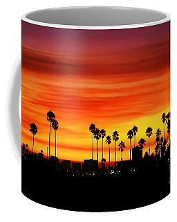 Coffee Mug featuring the photograph Fire Sunset In Long Beach by Mariola Bitner