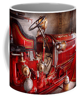 Fireman - Truck - Waiting For A Call Coffee Mug by Mike Savad
