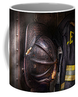 Fireman - Worn And Used Coffee Mug by Mike Savad