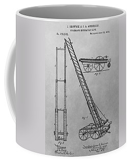 Fireman's Hydraulic Lift Patent Drawing Coffee Mug