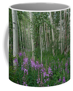 Coffee Mug featuring the photograph Fireweed And Aspen by Cascade Colors