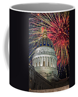 Fireworks At Wv Capitol Coffee Mug by Mary Almond