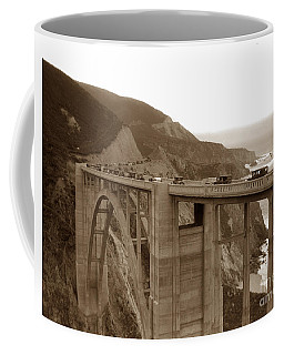 First Cars Across Bixby Creek  Bridge Big Sur California  Nov. 1932 Coffee Mug