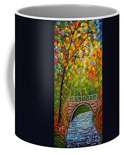 Coffee Mug featuring the painting First Kiss On The Bridge Original Acrylic Palette Knife Painting by Georgeta Blanaru