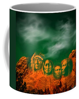 First Nations Chiefs In Mount Rushmore Coffee Mug by Anastasia Savage Ealy