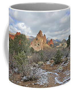 Coffee Mug featuring the photograph First Snow At Garden Of The Gods by Diane Alexander