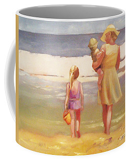 First Waves Beach Waves With Children And Mom  Coffee Mug