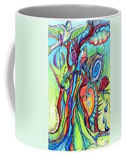 Fish Feather In Teapot Tree Guarded By Human Bird Coffee Mug