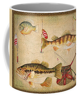 Fish Trio-a-basket Weave Border Coffee Mug by Jean Plout