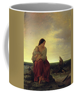 Fishermans Wife Mourning On The Beach Oil On Canvas Coffee Mug