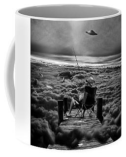 Fishing Above The Clouds Grayscale Coffee Mug
