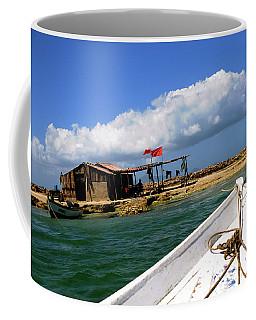 Fishing Boat Approaches Shack Coffee Mug