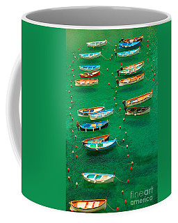 Fishing Boats In Vernazza Coffee Mug by David Smith