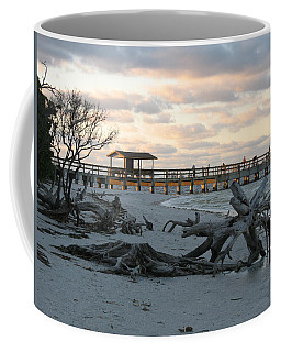 Fishing Pier And Driftwood Coffee Mug by Christiane Schulze Art And Photography
