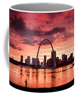 Fishing The Mississippi In St Louis Coffee Mug by Garry McMichael