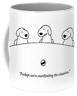 Five Dogs Sitting Around A Roundtable Coffee Mug