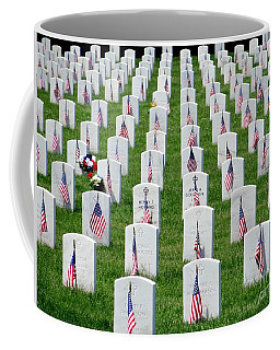 Coffee Mug featuring the photograph Flags Of Honor by Ed Weidman