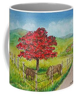 Flamboyan And Cows In Western Puerto Rico Coffee Mug by Frank Hunter