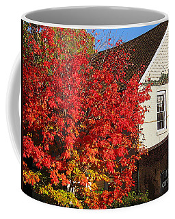 Coffee Mug featuring the photograph Flaming Fall Colours On Farm House by Nina Silver
