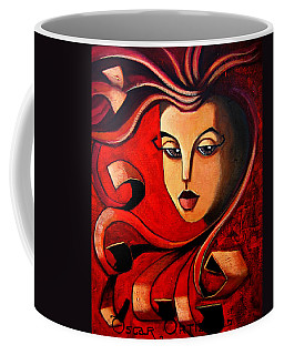 Coffee Mug featuring the painting Flaming Serenity by Oscar Ortiz
