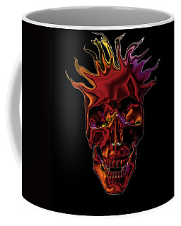 Coffee Mug featuring the digital art Flaming Skull by Denise Beverly