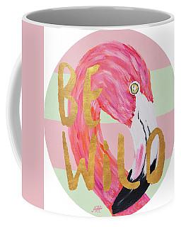 Flamingo On Stripes Round Coffee Mug