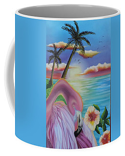 Coffee Mug featuring the painting Flamingo Sunset by Dianna Lewis