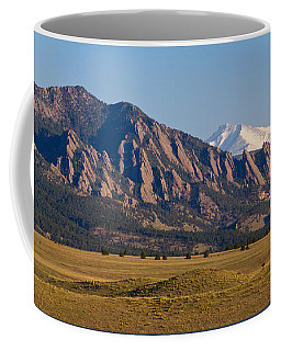 Flatirons And Snow Covered Longs Peak Panorama Coffee Mug