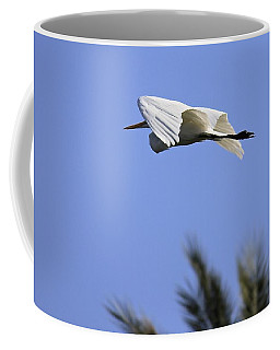 Coffee Mug featuring the photograph Flight Of The Egret by Penny Meyers