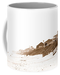 Coffee Mug featuring the photograph Florida Beach Sepia Print by Charles Beeler