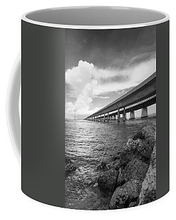 Florida Keys Seven Mile Bridge South Bw Vertical Coffee Mug by Photographic Arts And Design Studio
