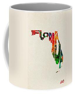 Florida Typographic Watercolor Map Coffee Mug