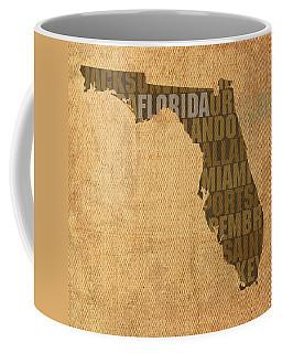 Florida Word Art State Map On Canvas Coffee Mug