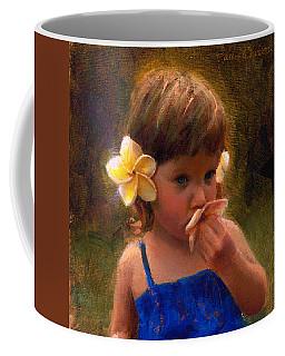 Flower Girl - Tropical Portrait With Plumeria Flowers Coffee Mug by Karen Whitworth