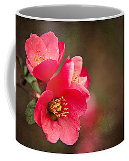 Coffee Mug featuring the digital art Flowering Quince by Lana Trussell